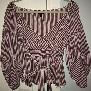 Express striped tie waist blouse